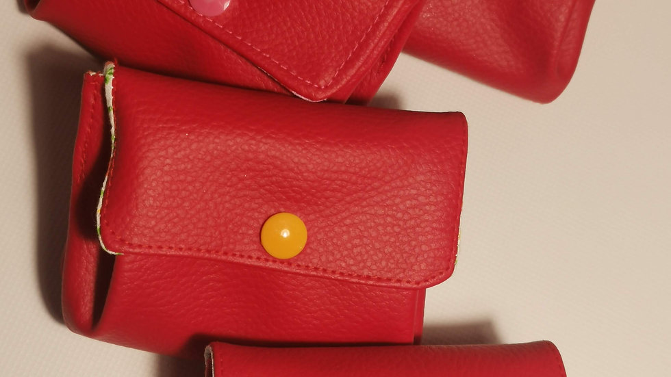 Porte monnaie rouge 3 compartiments