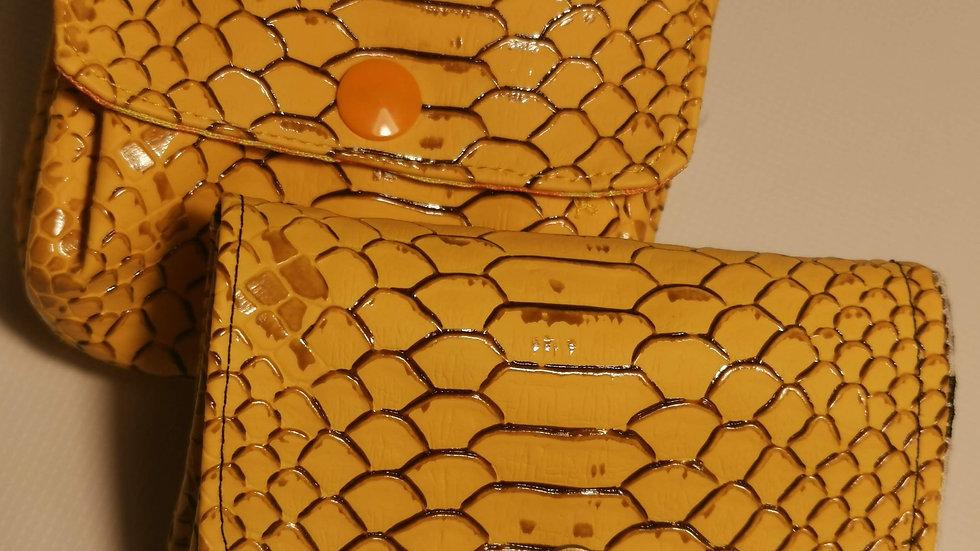 Porte monnaie écailles jaune 3 compartiments