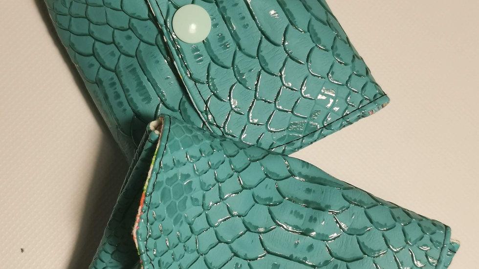 Porte monnaie écailles turquoise 3 compartiments