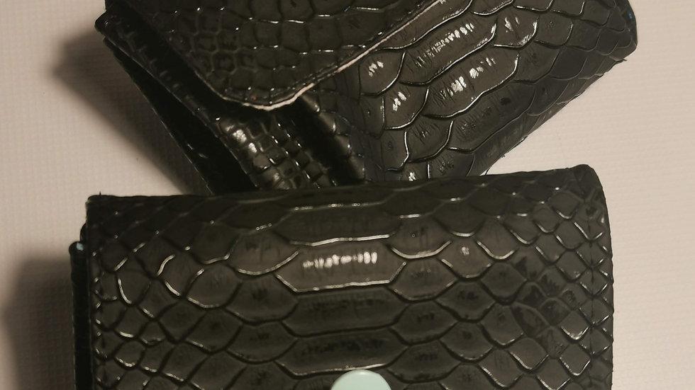 Porte monnaie écailles noir 3 compartiments