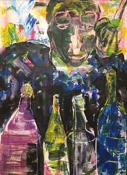 Visage d'homme avec bouteilles