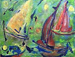 A l'avant plan, barque, et bateaux à voilesd