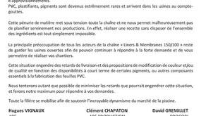 Bulletin d'information « Filière Liners et Membranes 150/100 »