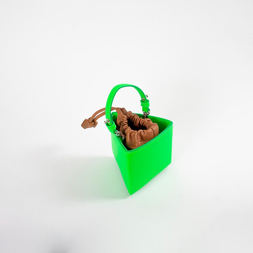 Mini triangle bag neon green