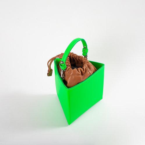 Medium triangle bag neon green