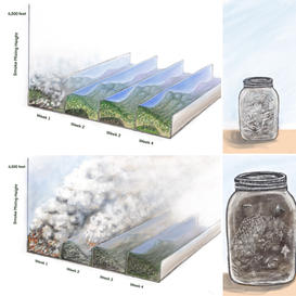 Diagrams of Fire and Smoke Over Time