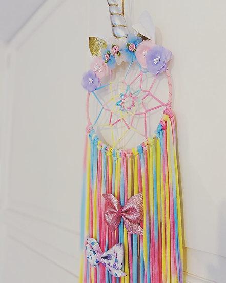 Unicorn Dream Catcher Bow display-Pink