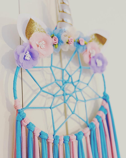 Unicorn Dream Catcher Bow display- Blue