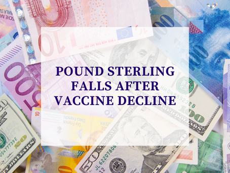 Pound sterling falls after vaccine decline