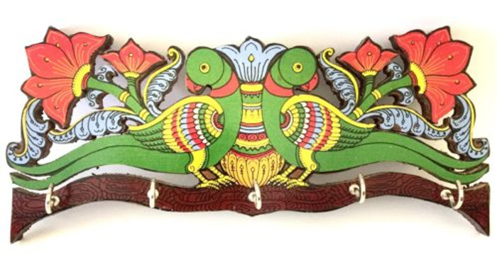 Madhubani Peacock Key Holder