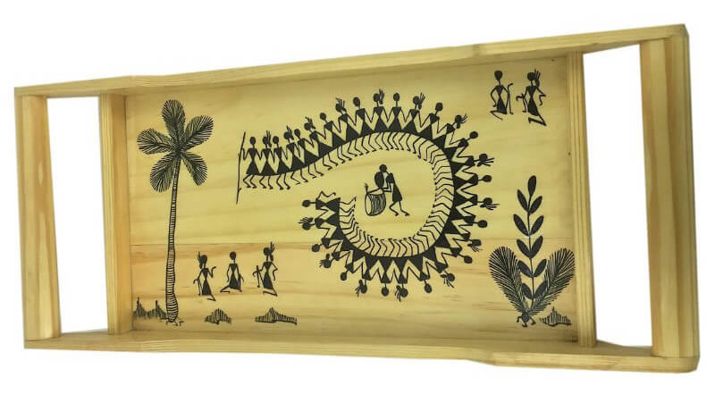 Pinewood Tray with Warli Art – Curved Handle