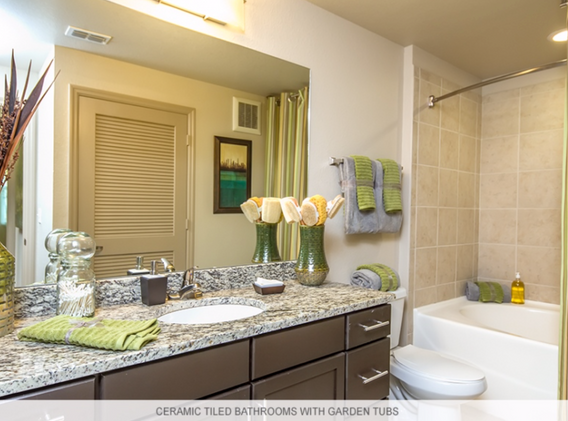 Ceramic tiled bathroom.