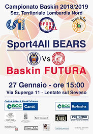 Sport4All Vs Baskin Futura 27 gennaio 2019