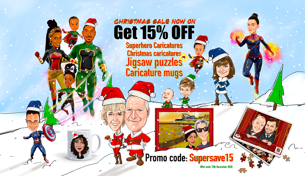 Christmas caricature sale