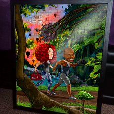 Framed 150 piece wooden puzzle