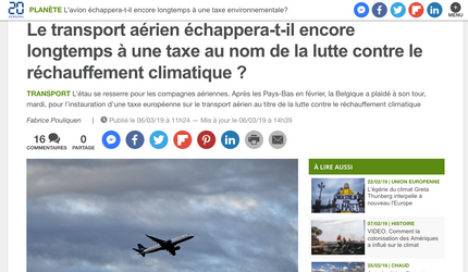 My interview in 20 Minutes on the hypothesis of a carbon tax for airlines