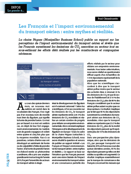 """Our article in """"Piloter"""" summarizing the main conclusions of the first report published by"""