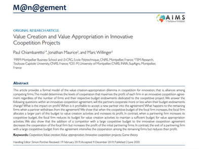 Our new research article in M@n@gement on value creation and appropriation in coopetition