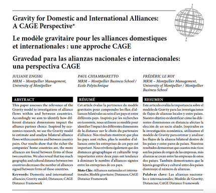 Our new research article in Management International on the application of the Gravity Model to the