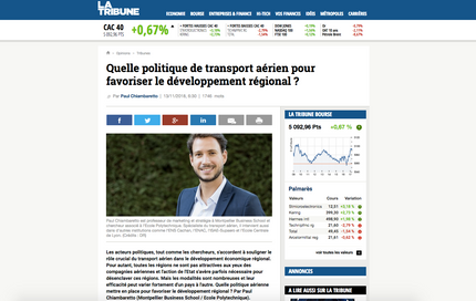 My new article in La Tribune on the efficiency of air transport policies to improve regional develop