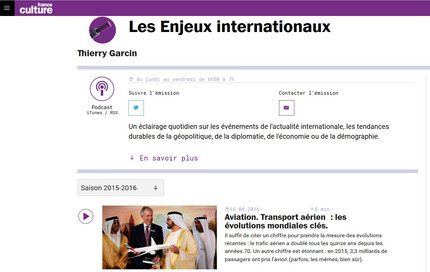 New interview on France Culture about the evolution of the air transport industry