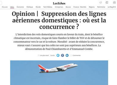 """Our article in """"Les Echos"""" regarding the ban of domestic flights"""