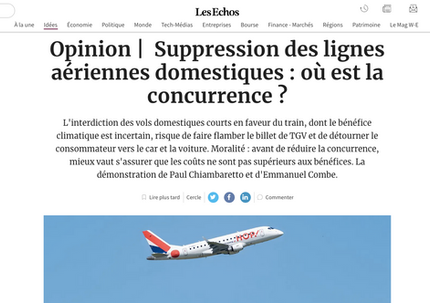 "Our article in ""Les Echos"" regarding the ban of domestic flights"