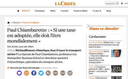 My interview in La Croix on the risks associated to a carbon tax for airlines