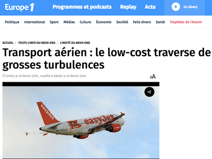 My interview on Europe 1 about the evolution of low cost carriers