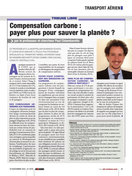 New article in Air & Cosmos on voluntary carbon offsetting programs