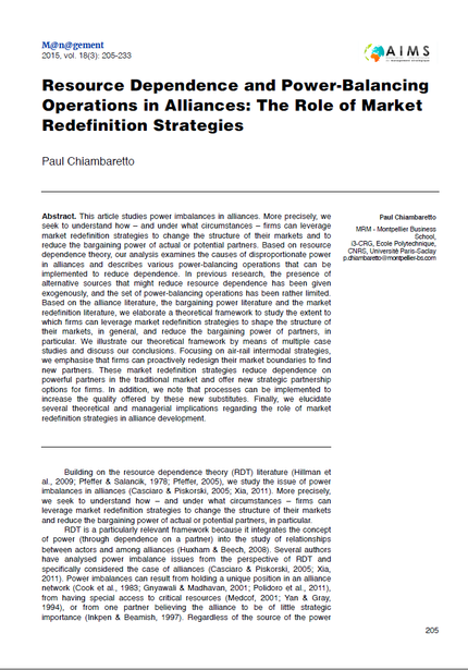 New research article in M@n@gement on power-balancing operations in alliances