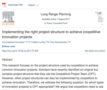 My research article on Managing Coopetition for Innovation