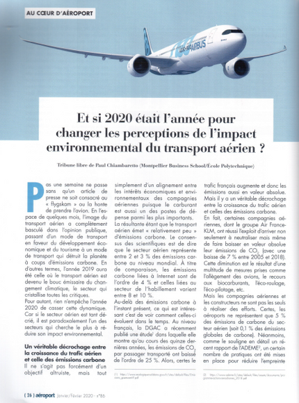 My article in Aeroport Le Mag on the biased perception of the environmental impact of air transport