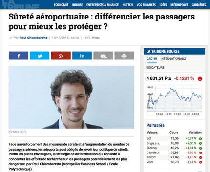 New article in La Tribune on airport security