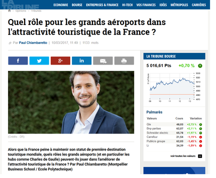 My article in La Tribune on the role of large airports in fostering a country's attractiveness f