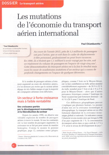 New article in Questions Internationales on the evolution of the air transport industry