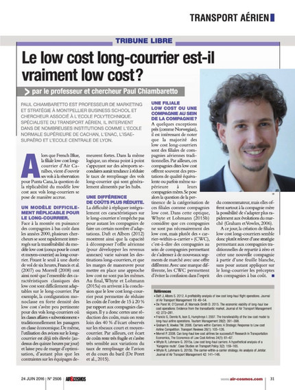 New article in Air & Cosmos on long-haul low cost carriers