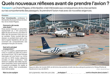 My interview in Ouest France regarding the impact of COVID-19 on French air passengers