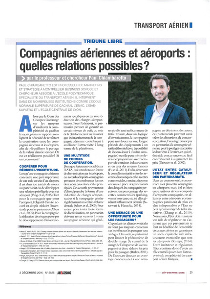 New article in Air & Cosmos on airport-airline relationships