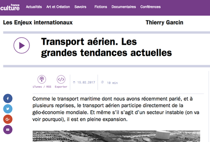 My latest interview on France Culture about the recent trends of the air transport industry