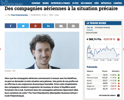 New article in La Tribune on the evolution of airline costs
