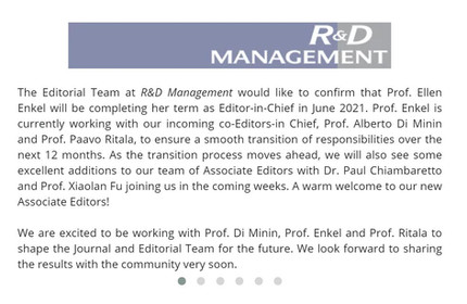 My appointment as Associate Editor of R&D Management