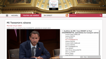 My audition by the French Senate on the impact of air transport on the regional development