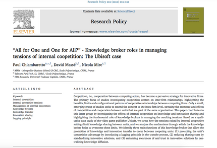 Our new research article in Research Policy on the management of internal coopetition