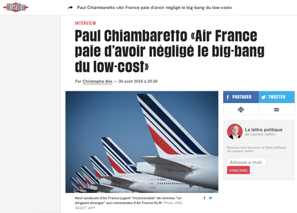 My interview in Libération about Air France and its challenges