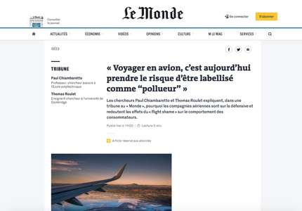 Our article in Le Monde regarding flygskam, the shame of flying, and its impact for airlines