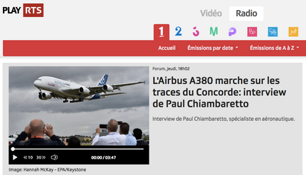 My interview on RTS about the termination of the A380 programme