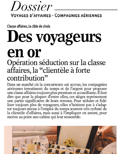My interview in Le Nouvel Economiste on Business class offers