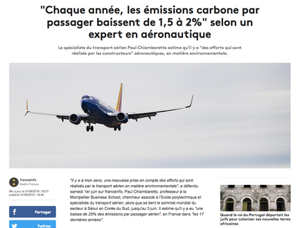 My interview on France Info about the environmental impact of airlines