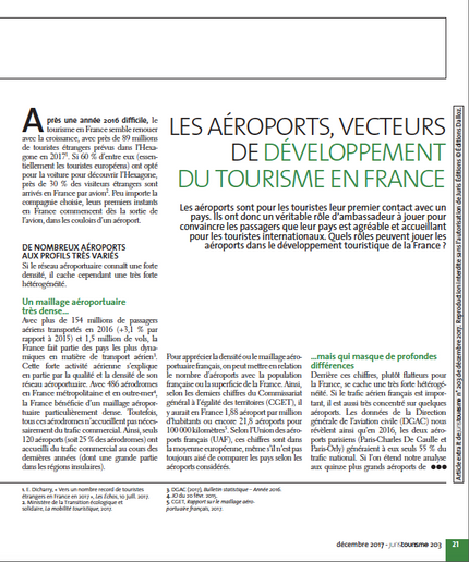 My article in Juris Tourisme on airports and their impact on tourism